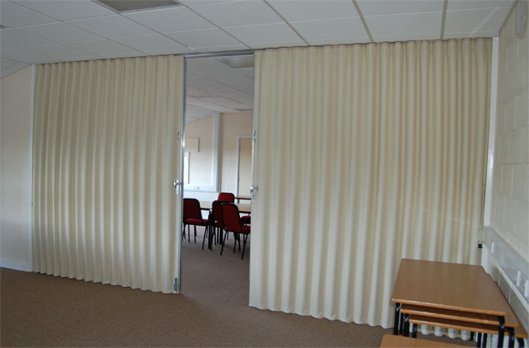 Single or Bi Parting Fabric Partitions and Partitioning. Folding ...